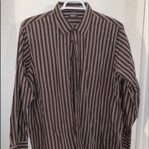 Kenneth Cole Reaction Stripe Button Up Shirt XL